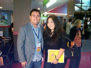 Mixed Match director, Jeff Chiba Stearns with Mixed Marrow founder, Athena Asklipiadis meeting for the first time at the 2010 San Diego Asian Film Festival.