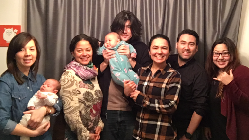 (Jeff's wife and Daughter, Jen and Yuki, Zara Martz, and daughter Sekoya held by Lucas,  Anna Kaye, Jeff and Athena)